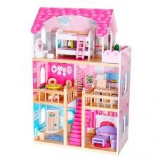 Деревянная игрушка Домик MD 1039 для куклы, 3этажа, 90-59-33см, мебель