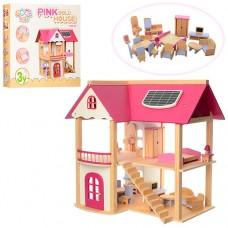 Деревянная игрушка Домик MD 1068 для куклы, 55-37-53см, мебель
