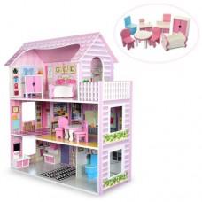 Деревянная игрушка Домик MD 1204 для куклы, 3этажа, мебель