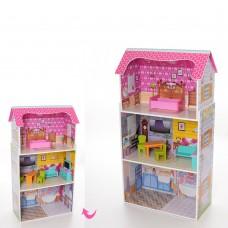Деревянная игрушка Домик MD 1549 для куклы, 50-95-24см, 3этажа, мебель