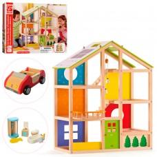 Деревянная игрушка Домик MD 2006 для куклы, 3этажа, мебель