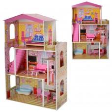 Деревянная игрушка Домик MD 2008 для куклы, 3этажа, мебель