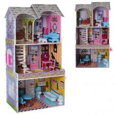 Деревянная игрушка Домик MD 2010 для куклы, 3этажа, мебель