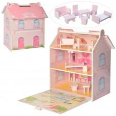 Деревянная игрушка Домик MD 2047 3этажа, 40-35-23см, мебель