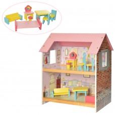Деревянная игрушка Домик MD 2048 2этажа, 48-44-25см, мебель