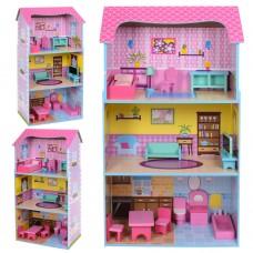 Деревянная игрушка Домик MD 2049 3этажа, 92, 5-51, 5-26см, мебель