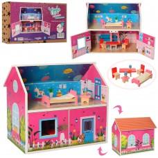 Деревянная игрушка Домик MD 2158 ш38-в33-г22см, 2 этажа, мебель