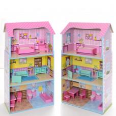 Деревянная игрушка Домик MD 2202 для куклы, ш49-в92-г24см, 3этажа, мебель