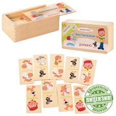 Деревянная игрушка Домино GT5309 игра с 28 деревянными карточками, Простоквашино, в деревянном пенале 14, 5-5-8 см