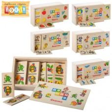 Деревянная игрушка Домино MD 0017 игра с 28 деревянными карточками, 6 видов игрушки, фрукты, транспорт, сказки, дикие животные, домашние животные, в деревянном пенале 15, 5-4-9 см