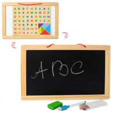 Деревянная игрушка Досточка MD 1147 двухст магн/рис, цифры, буквы, мел, маркер