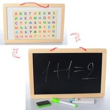 Деревянная игрушка Досточка MD 1148 двухстор магнрис, цифр, букв, маркер, мел, куль