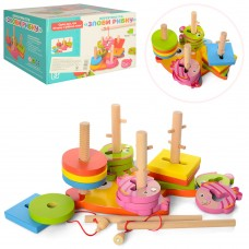 Деревянная игрушка Геометрика MD 0902 квадраты, круги, рыбалка рыбки с магн