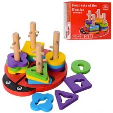 Деревянная игрушка Геометрика MD 1027 фигуры 16шт