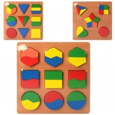 Деревянная игрушка Геометрика MD 2282 фигуры, 3 видаке