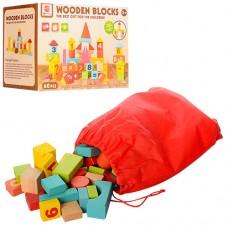 Деревянная игрушка Городок 0360 60 деталей, цифры, в сумке