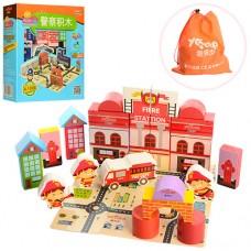 Деревянная игрушка Городок MD 1026 игр.поле-пазл, 25 деталей, 2вида пожарн, полиц