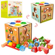 Деревянная игрушка Игра MD 1082 куб, ксилофон, лабиринт, сортер, стучалка