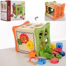 Деревянная игрушка Игра MD 1226 куб16, 5см, сортер, трещотка, счеты, фигурки