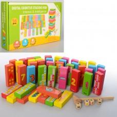 Деревянная игрушка Игра MD 1540 башня, цифры, счет, молоточ.кубики