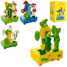 Деревянная игрушка Карусель MD 1143 17см, муз заводная, 4вида животн