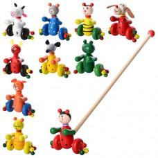 Деревянная игрушка Каталка MD 0024 Деревянная игрушка Каталка MD 0024 100шт на палке 48, 5см, животное насекомое 12см, 10видов коровка, лягушка, мышка, мишка, собачка, олень, кот - 2 вида, божья коровка, пчелка, 52-12-11см
