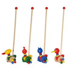 Деревянная игрушка Каталка MD 0025 на колесах и с ручкой, 4 вида, животные 13 см