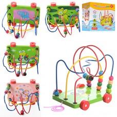 Деревянная игрушка Каталка MD 0320 на проволоке, 3 проволоки, 15 бусин, каталка на колесах и с веревкой, размер 17, 5-13, 5-17 см, 4 вида, в цветной коробке 17, 5-18, 5-14 см