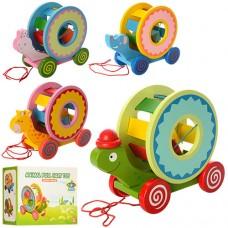 Деревянная игрушка Каталка MD 0985 сортер, 26, 5см, фигурки 3шт, 4 вида