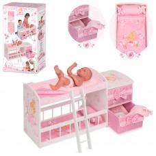 Деревянная игрушка Кровать 54323 для куклы, 80-40-28см, двухэтаж, постель