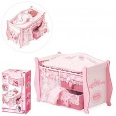 Деревянная игрушка Кровать 54421 для куклы, 63-38-28см, одеяло, подушка