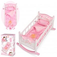 Деревянная игрушка Кровать 54523 для куклы, 56-33-38см, качалка, постель