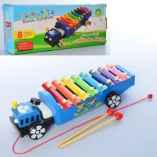 Деревянная игрушка Ксилофон MD 2131 32см, каталка, 8тонов, палочки 2шт, 2цв, в кор
