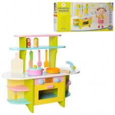 Деревянная игрушка Кухня MSN15028 ш48-г19-в42см, плита, духовка открывается, регуляторы-трещотки, посуда