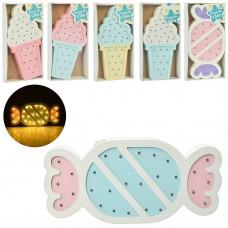 Деревянная игрушка Ночник MD 2075 30см, 2в мороженое/конфета /микс цв, св, бат, кор