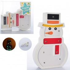 Деревянная игрушка Ночник MD 2221 снеговик20см, свет, USBзарядное, от сети/на бат-ке