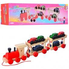 Деревянная игрушка Паровозик M01557 каталка, 15-11, 5-8см, машинка 6шт