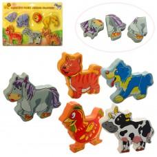 Деревянная игрушка Пазлы MD 1280 животные дикиедомашние, 5шт, 2вида