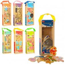 Деревянная игрушка Пазлы MD 1284 магниты, микс видов, в пенале