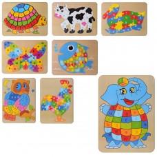Деревянная игрушка Пазлы MD 2020 животные, буквы рус, 6видов