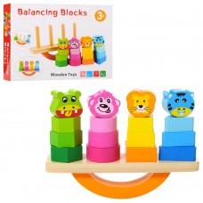 Деревянная игрушка Пирамидка MD 1318 4шт, баланс