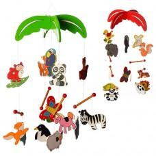 Деревянная игрушка Подвеска MD 0992 57см, подвески5шт, животные, микс видов