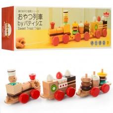 Деревянная игрушка Поезд MD 0970 каталка, 42см, локомотив, вагон 2шт 1