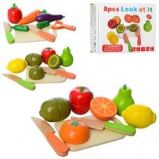 Деревянная игрушка Продукты MD 1197 доска, нож, 2вида овощи, фрукты