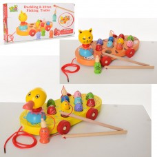 Деревянная игрушка Рыбалка MD 2164 животное-каталка, магнитн, 2вида