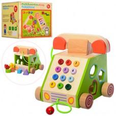 Деревянная игрушка Сортер MD 1109 телефон, каталка, фигурки6шт