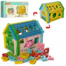 Деревянная игрушка Сортер MD 2086 домик, 20см, цифры, геом.фигуры, часы