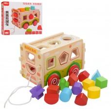Деревянная игрушка Сортер MD 2094 автобус, каталка
