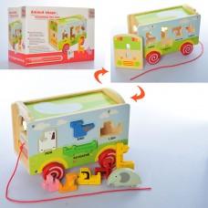 Деревянная игрушка Сортер MD 2122 каталка 24см, фигурки-животные