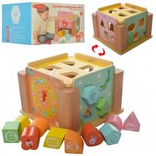 Деревянная игрушка Сортер WW-198 17-17-12, 5см, фигурки, часы